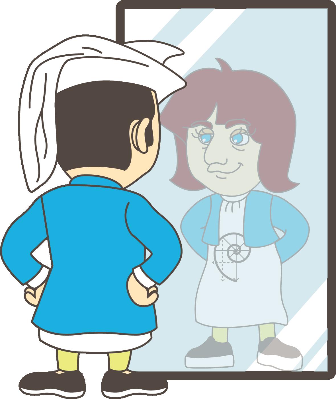 Leonardo Fibonicci kijkt in spiegel